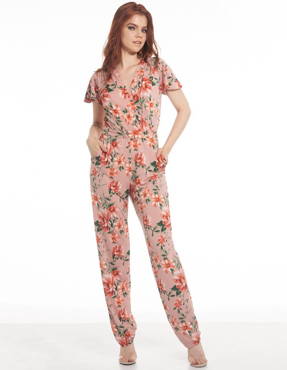 Jumpsuit LVYOU rosa con diseño floral b8d495ebbb5