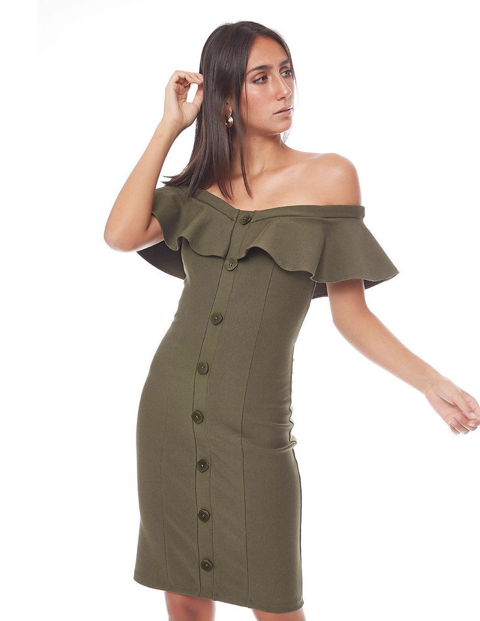 Vestido Studio F Verde Militar Casual