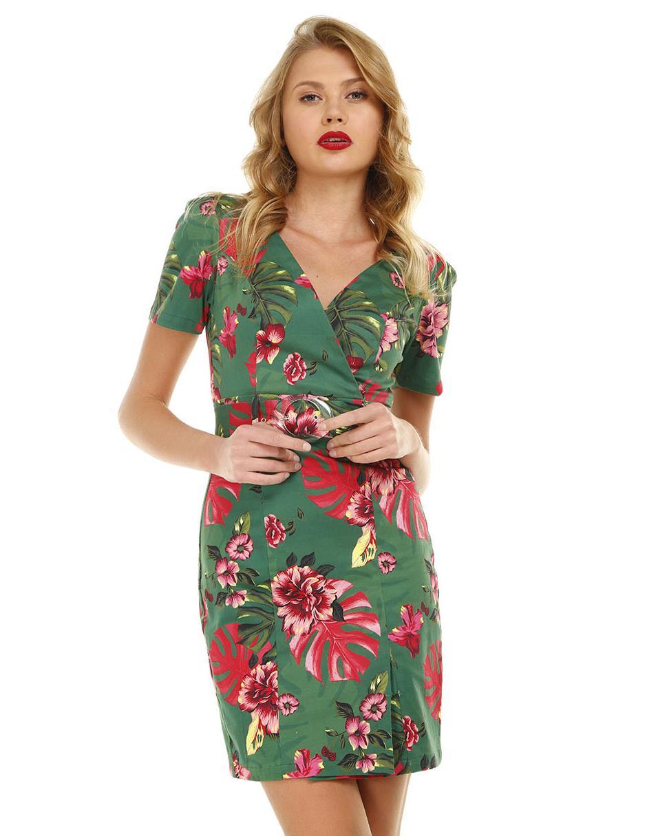 Vestido Studio F Verde Con Diseño Floral Casual