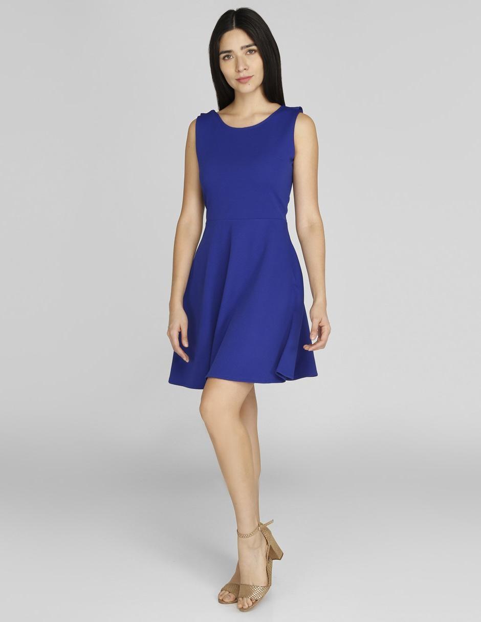 Vestido Casual Lvyou Azul Rey Acanalado